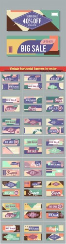 Vintage horizontal banners in vector, discount coupons