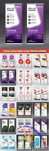 Vertical roll up banner vector business template # 9