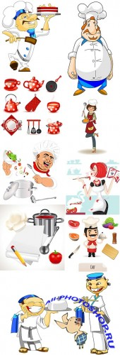 Professional chef of restaurant cartoon an illustration