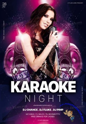 Karaoke Night V45 2018 PSD Flyer Template