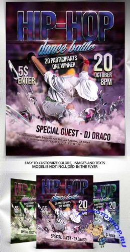 Hip-Hop dance battle V1 2018 Flyer PSD Template