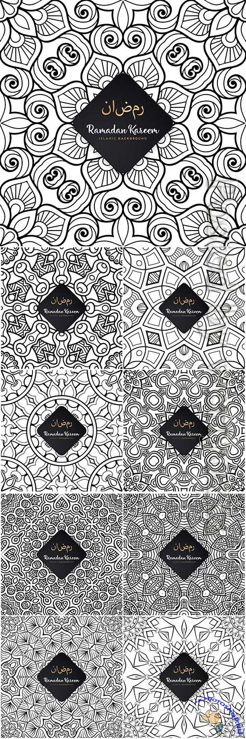Ramadan kareem seamless pattern mandala vector background