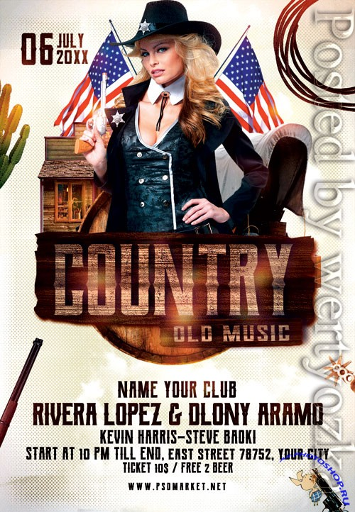 Country music night - Premium flyer psd template