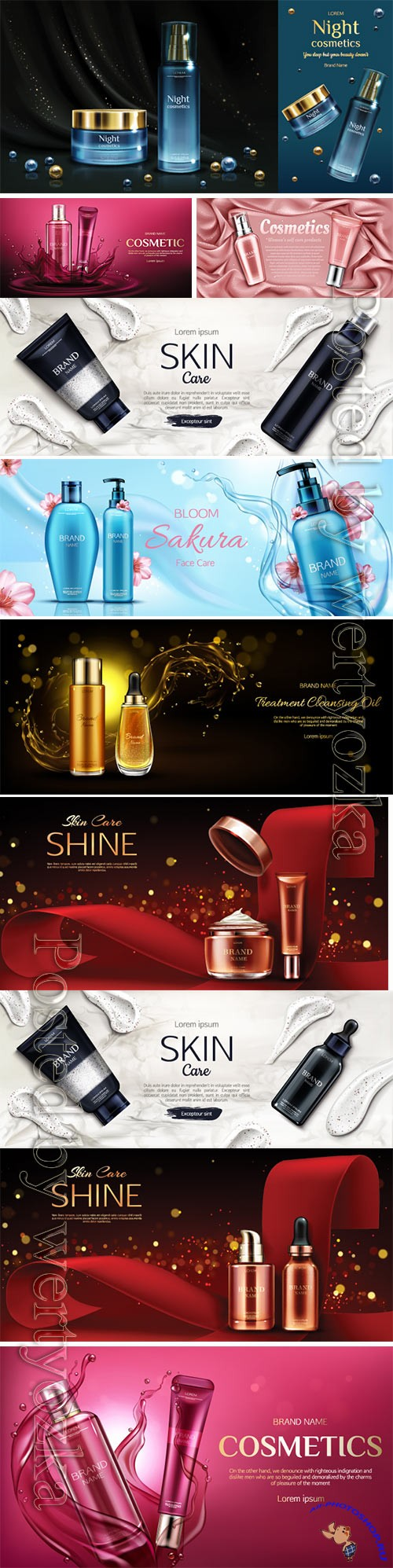 Cosmetic beauty ads flyer vector illustration