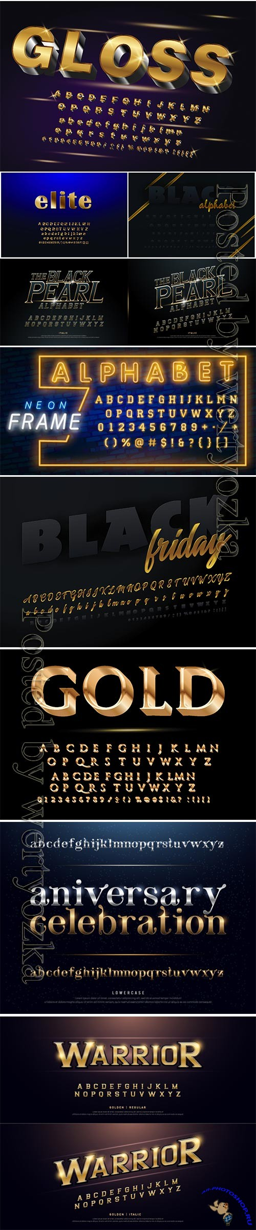 Golden glossy vector font or gold alphabet