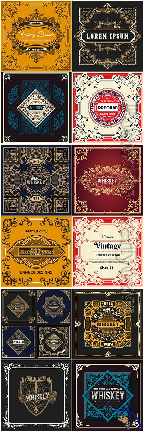 Vintage labels in vector # 5