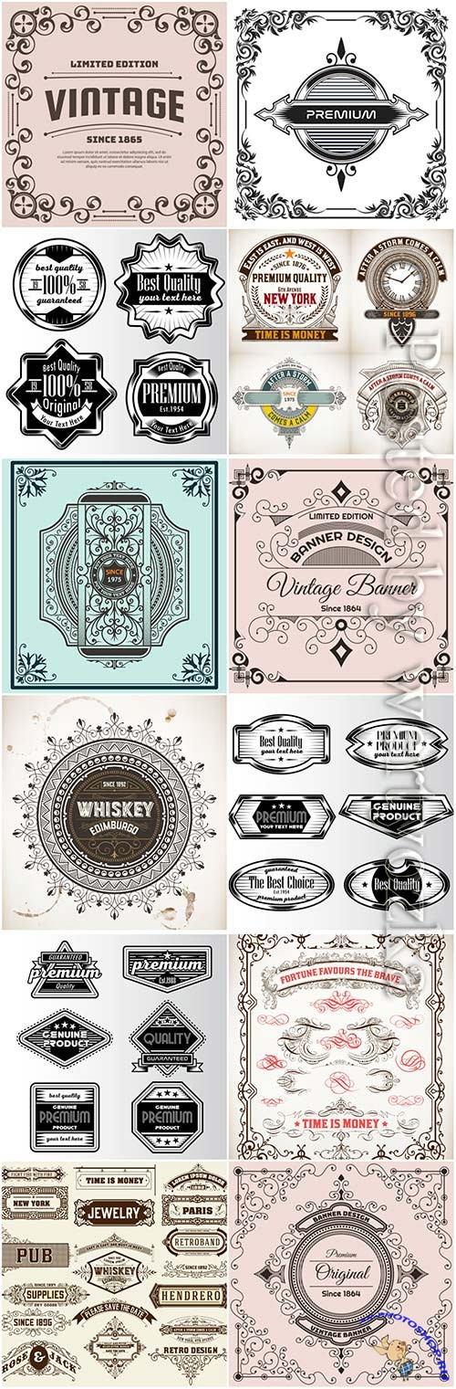 Vintage labels in vector # 4