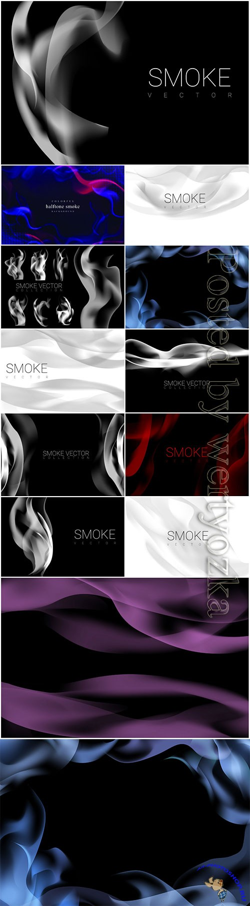 Set of smoke vector background