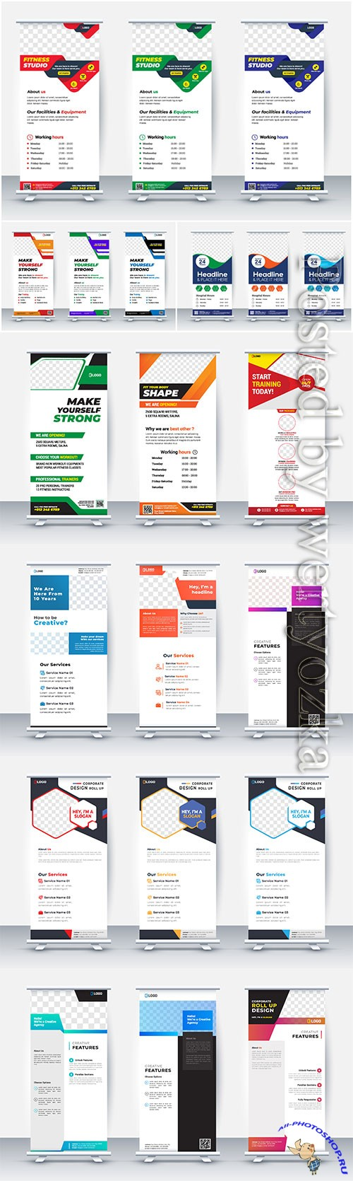 Business roll up banner stand poster, brochure flat design template creative concept