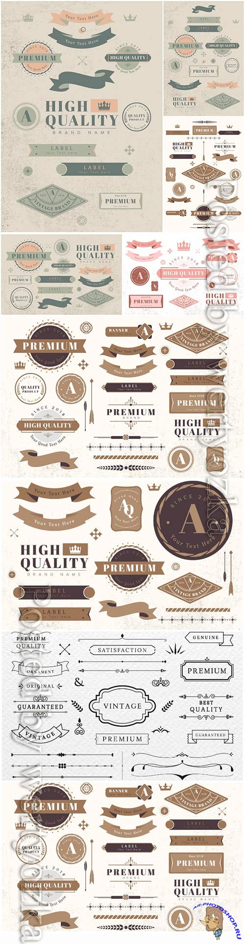 Vintage labels and badges decorative vector elements