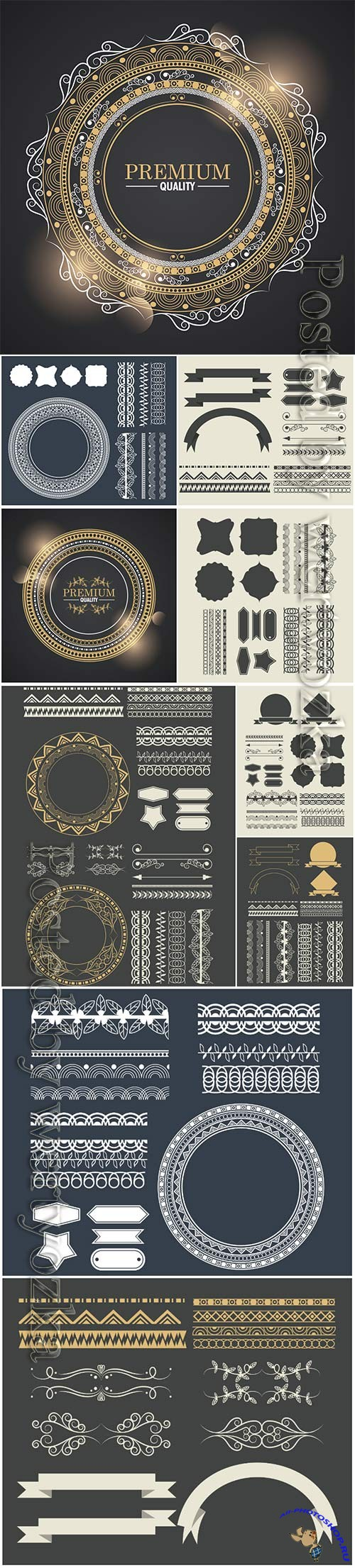 Set of ribbons, borders, decorative elements