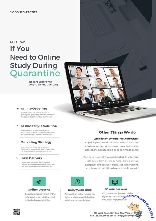 Online Home Learning - Premium flyer psd template