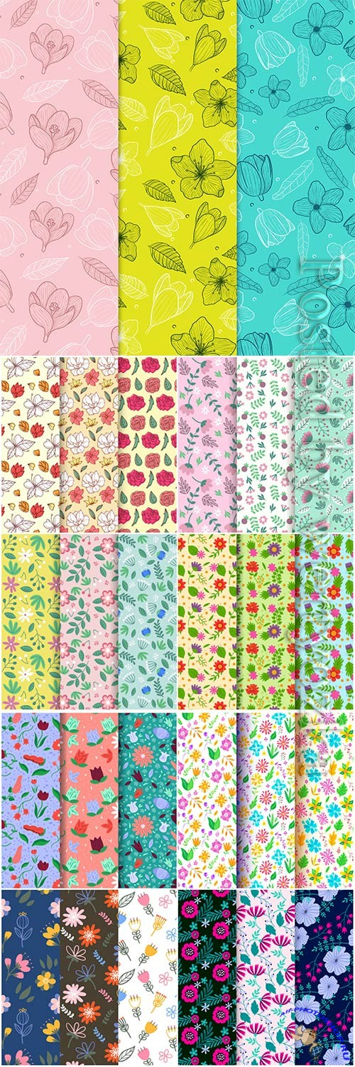 Seamless floral backgrounds in vector # 2