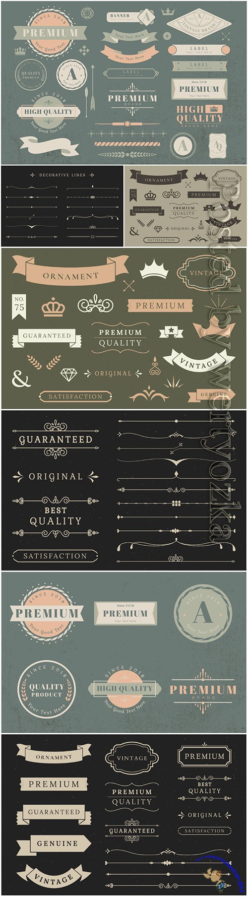 Vintage decorative elements in vector, borders, frames, corners, labels, emblems and ribbons