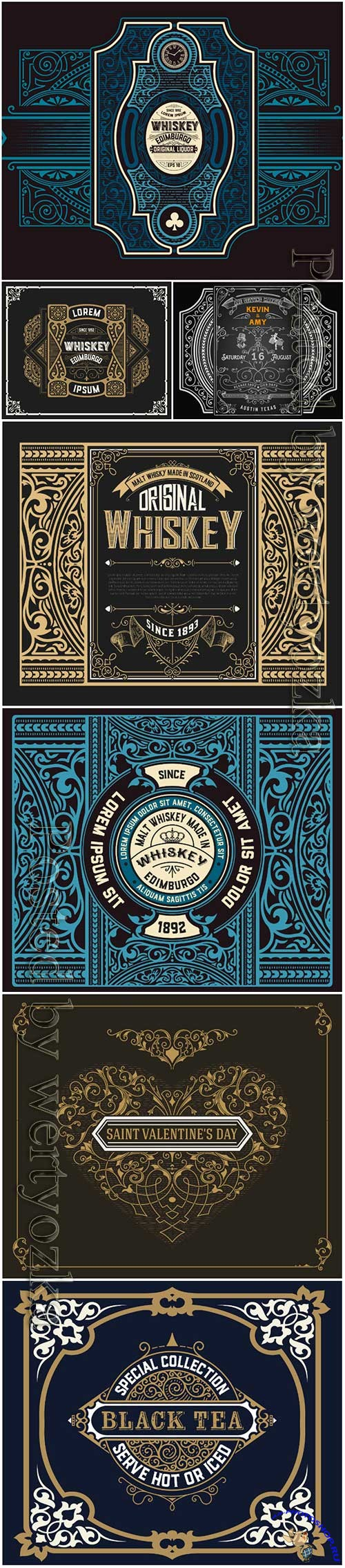 Vector vintage labels, borders, frames, corners, emblems and ribbons