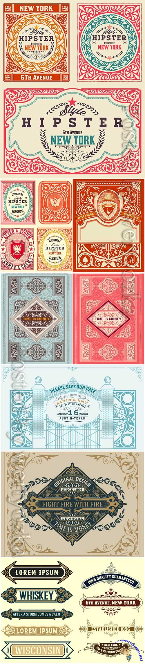 Vector vintage labels, borders, frames, corners, emblems and ribbons # 4