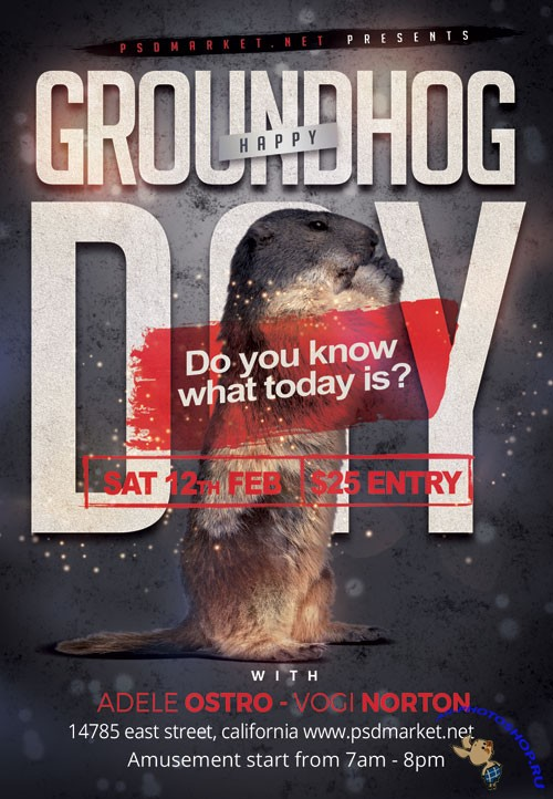 Groundhog day night - Premium flyer psd template
