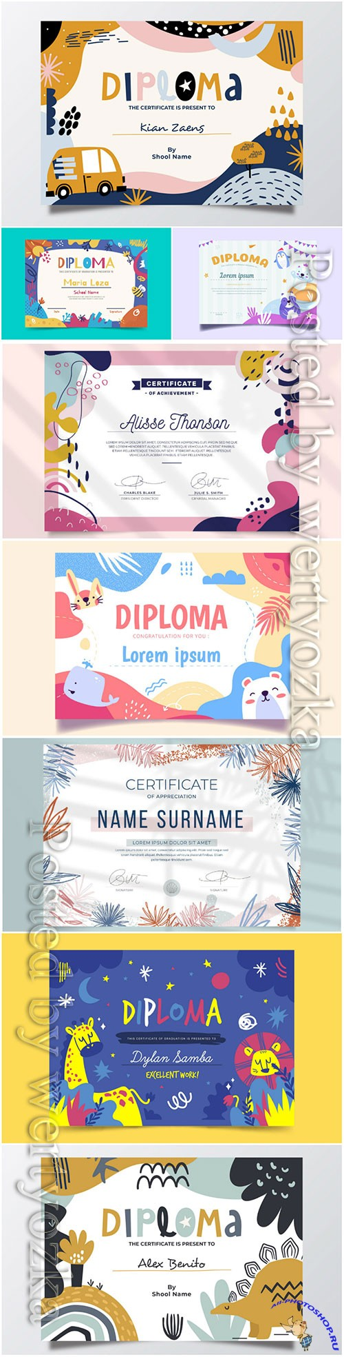 Floral professional certificate template