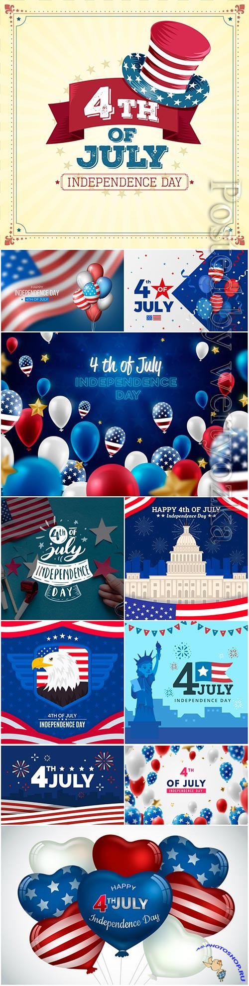 Realistic usa independence day background vector set