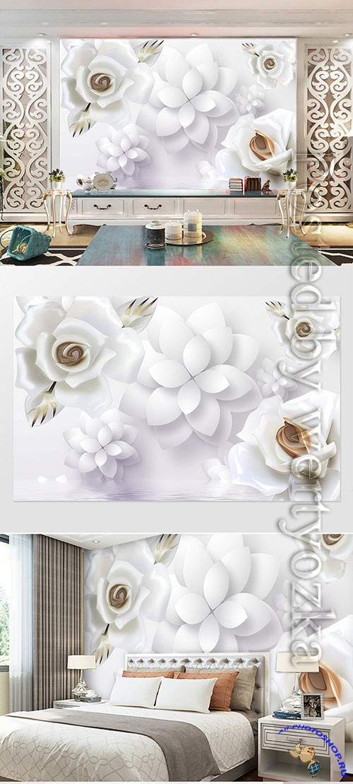 3D models template small fresh embossed floral rose tv background wall