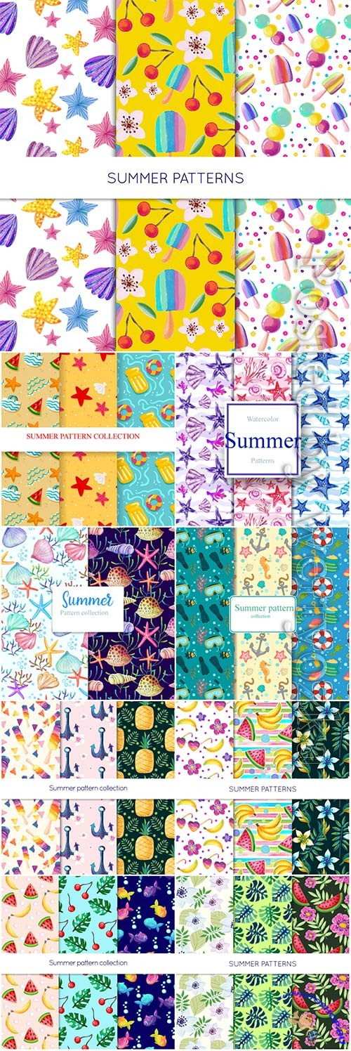 Summer pattern vector collections