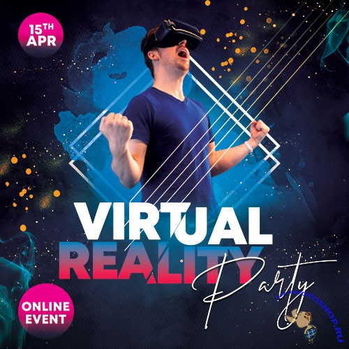 Virtual Party - Premium flyer psd template