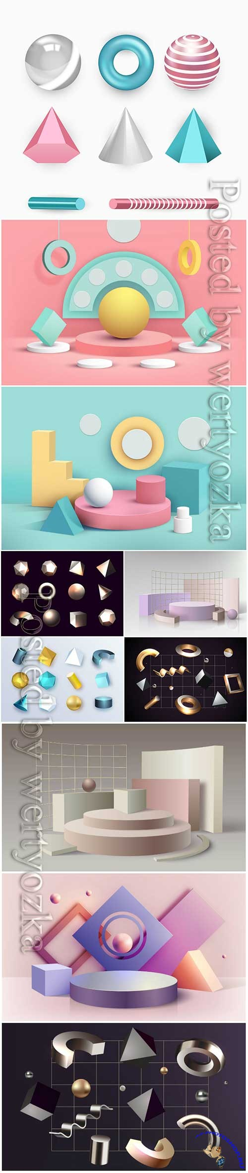 Geometric shapes in 3d effect vector illustration