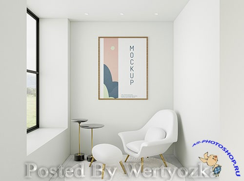 Front view minimalist home assortment with frame mock-up