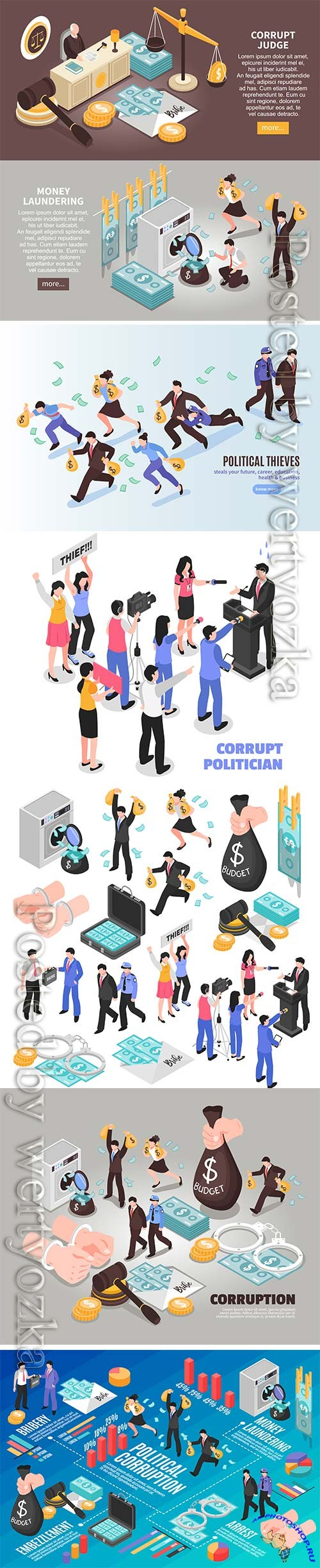 Corruption isometric included vector icons