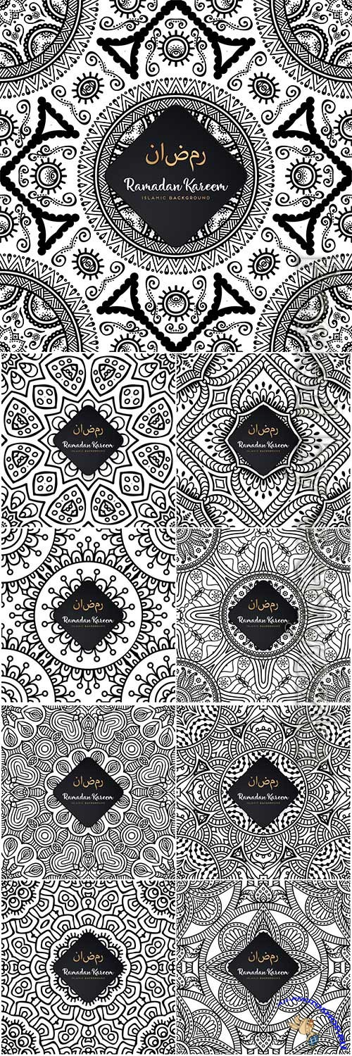 Ramadan kareem seamless pattern mandala vector background # 2