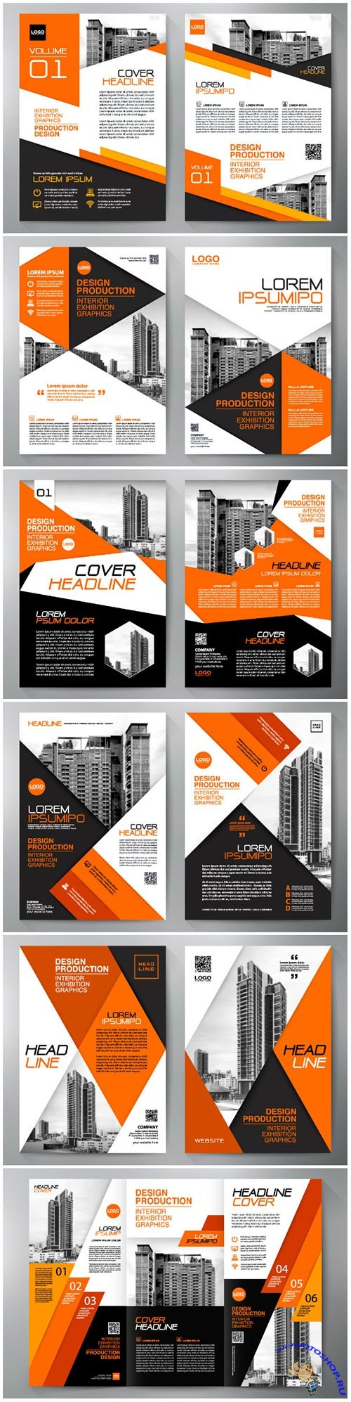Business brochure flyer design, leaflets a4 template