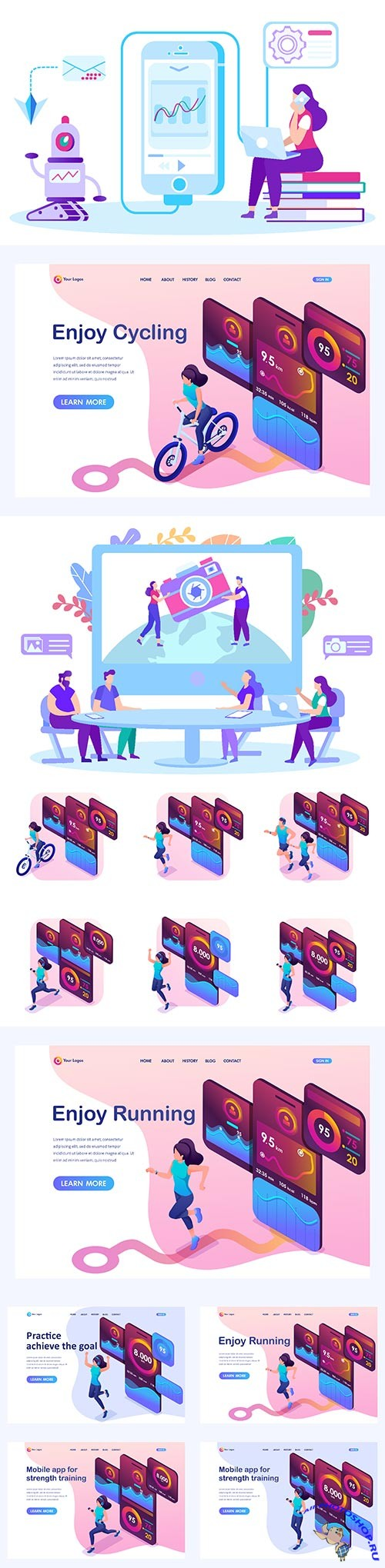 Flat isometric vector 3D concept illustration # 44