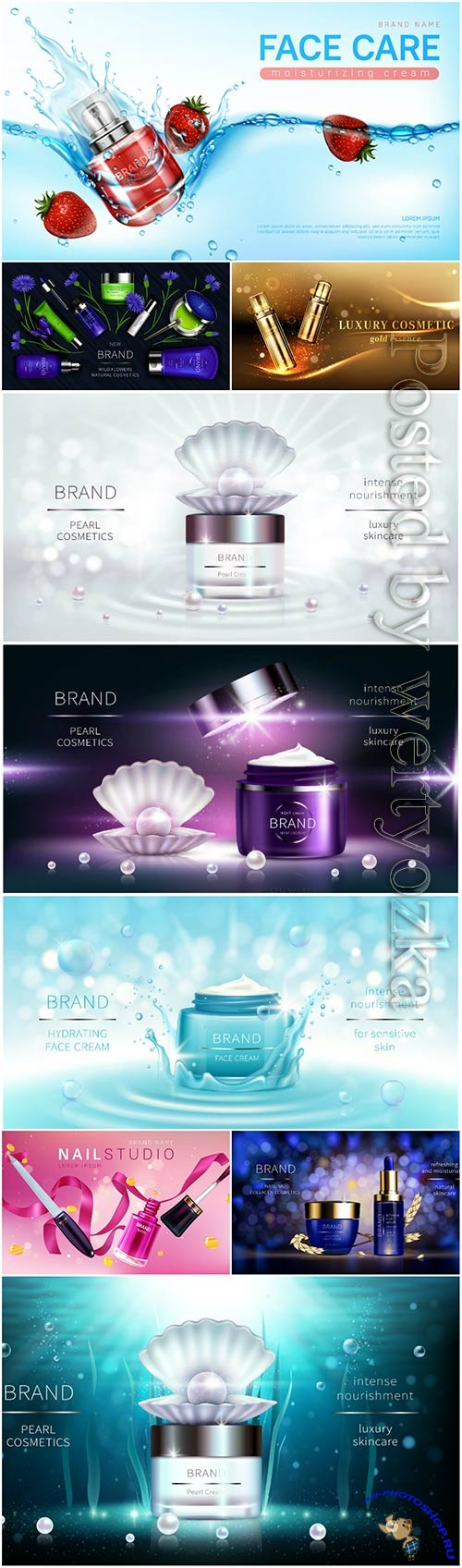 Cosmetics advertising templates in vector