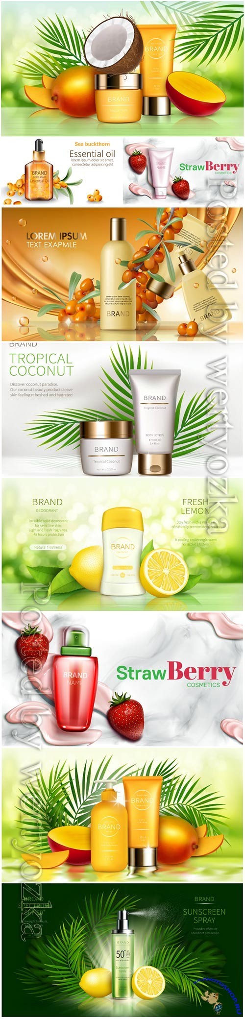 Skin care cosmetics, advertising posters in vector concept
