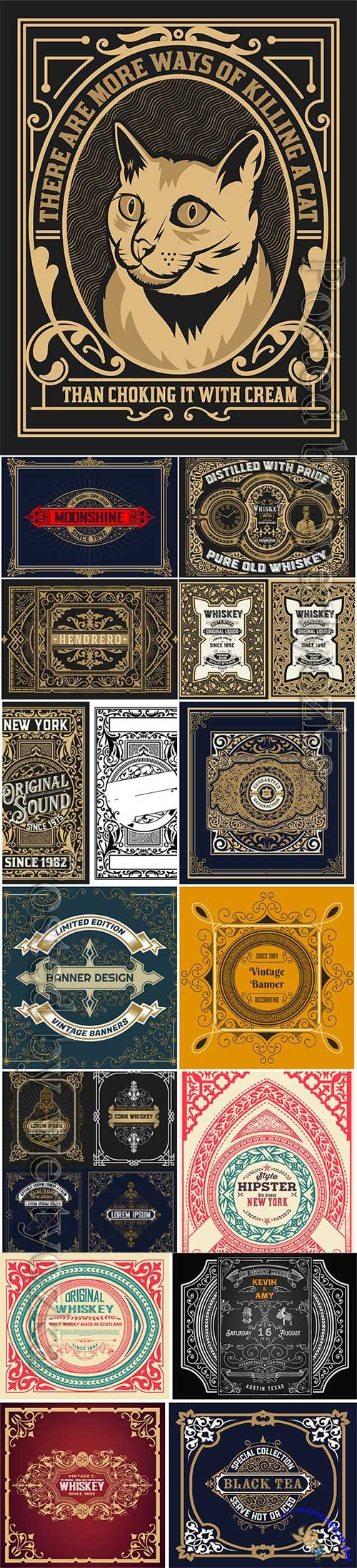 Vintage labels in vector, ornaments and logos # 3