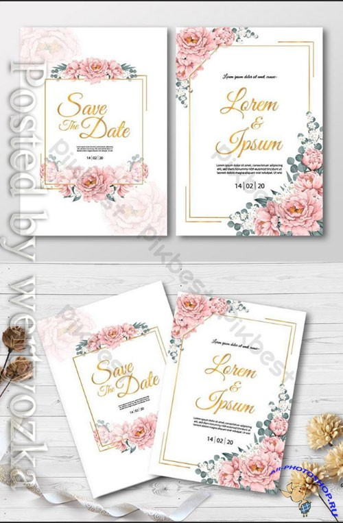 Wedding Invitation card with pink Paeonia flowers and gold frame watercolor drawing