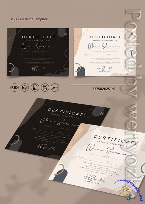 Certificates and diplomas templates in psd