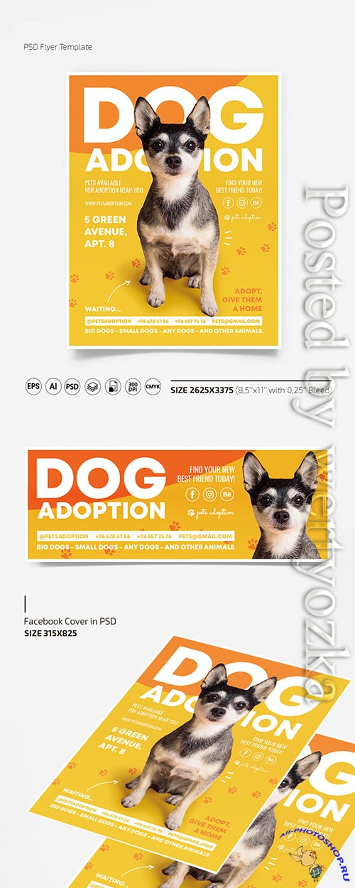 Dog adoption flyer template