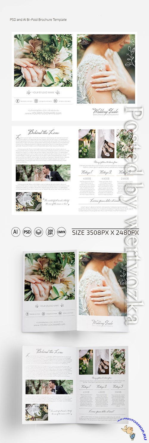 Wedding photographer bi-fold brochure template
