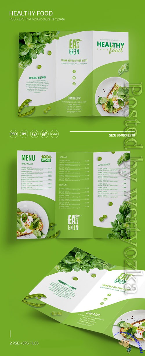 Healthy food menu templates in psd