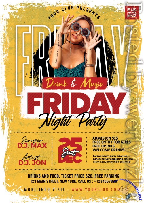 Ladies Friday Party PSD Flyer Template