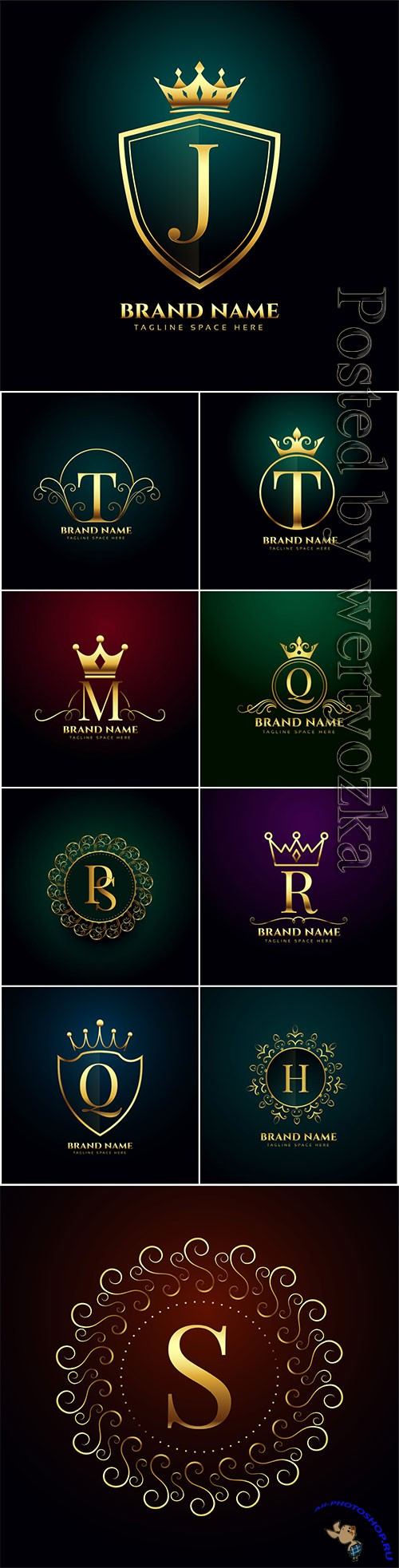 Luxury letter oranmental golden vector logo