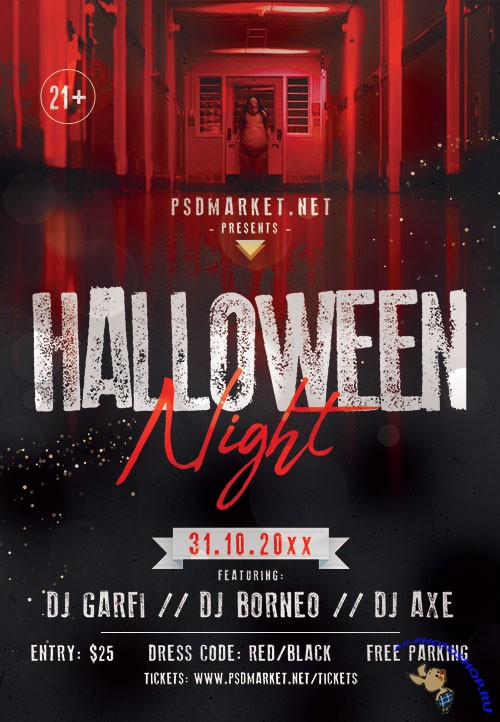 Halloween night party flyer psd