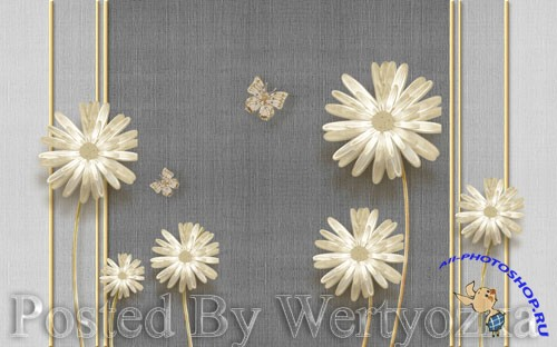 3D psd models modern elegant dandelion butterfly wrought iron-embossed soft bag wall