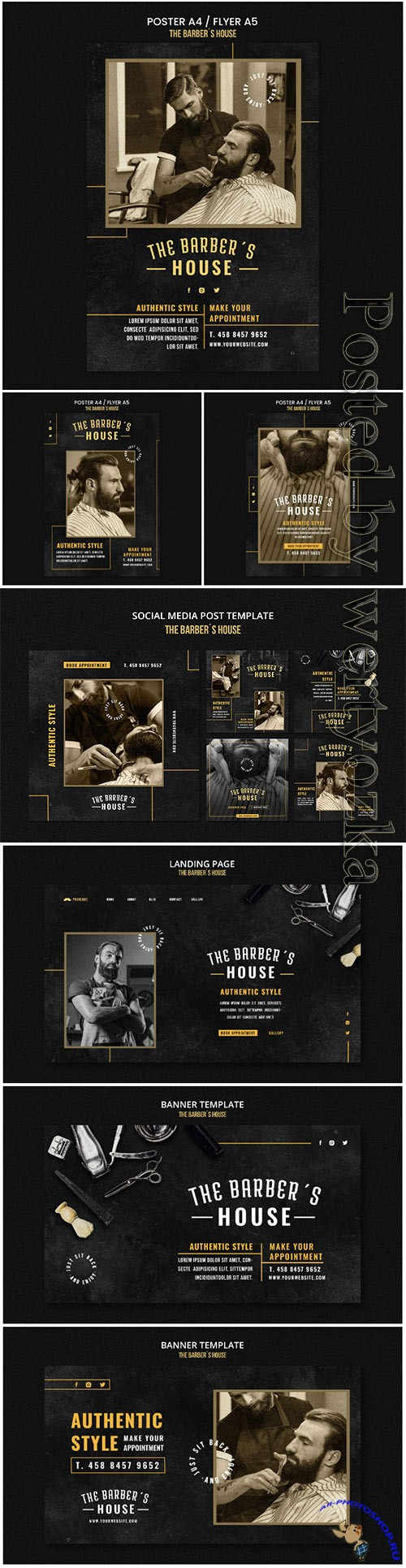 Barber shop poster template psd