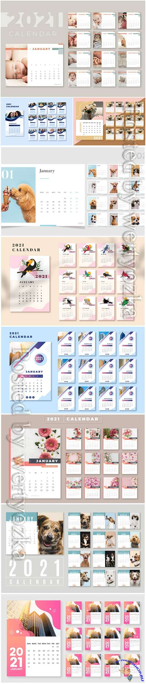 2021 calendar vector set templates vol 2