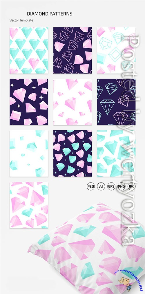 DIAMOND PATTERN SET IN EPS + PSD
