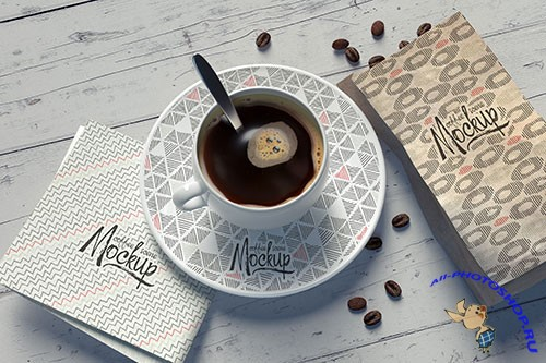 Mockup with a coffee cup composition with replaceable patterns