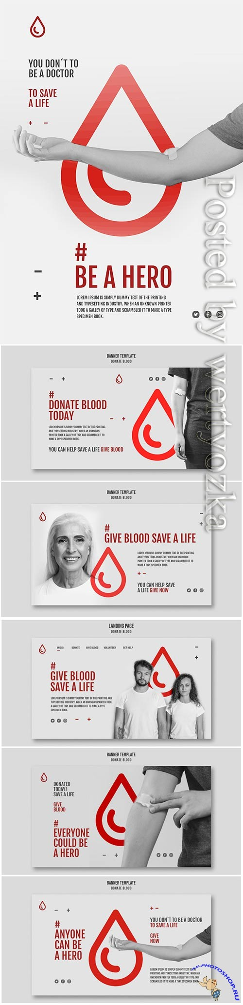 Donate blood campaign banner style