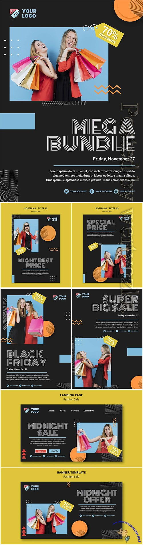 Fashion sale concept poster template